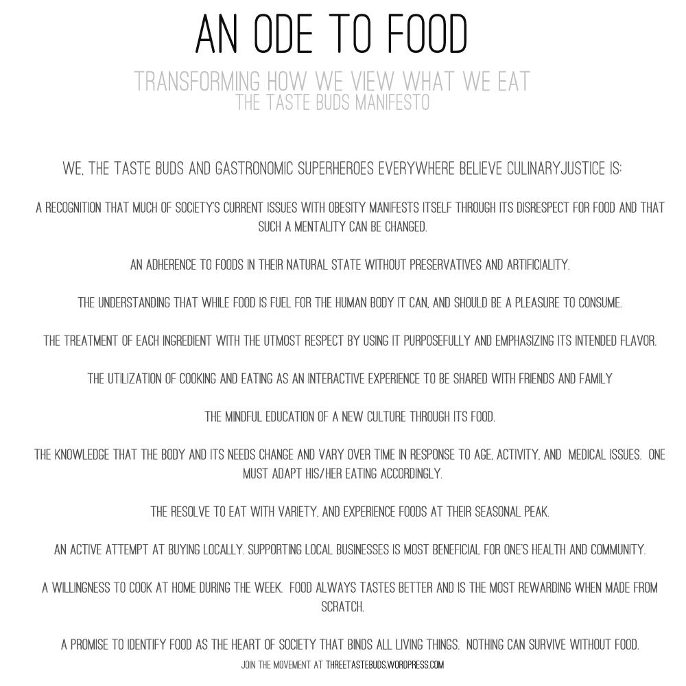 An Ode to Food: A Taste Buds Manifesto | Taste Buds